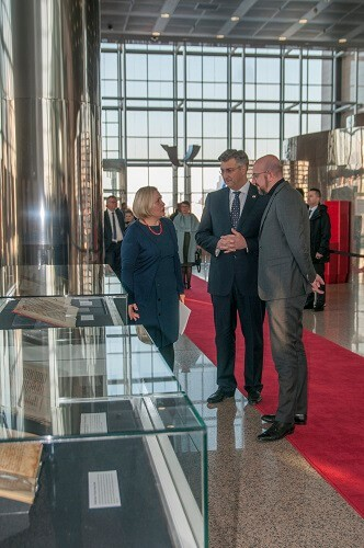 "NSK Acting Director General Dr Tatijana Petrić, Croatian Prime Minister Andrej Plenković and President of the European Council Charles Michel at the ""Book Art in Croatia"" exhibition at the National and University Library in Zagreb."