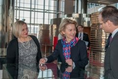 "NSK Acting Director General Dr Tatijana Petrić, EU Commission President Ursula von der Leyen and Chief of Staff to the Croatian Prime Minister Zvonimir Frka-Petešić at the ""Book Art in Croatia"" exhibition at the National and University Library in Zagreb."