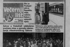 Večernji list, naslovnica – 30. svibnja 1990.