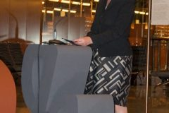"Croatian Minister of Culture Nina Obuljen Koržinek at the opening of the ""Croatian Glagolitic Heritage"" exhibition."