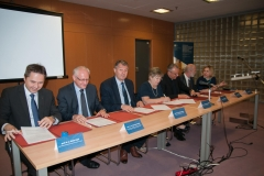 The representatives of the signatories of the Cooperation Agreement on the Development and Management of the Croatian National Union Catalogue. National and University Library in Zagreb, 28 May 2018.