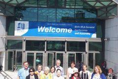 Dunja Marija Gabriel s članovima Sekcije za knjižnične usluge za osobe s posebnim potrebama.