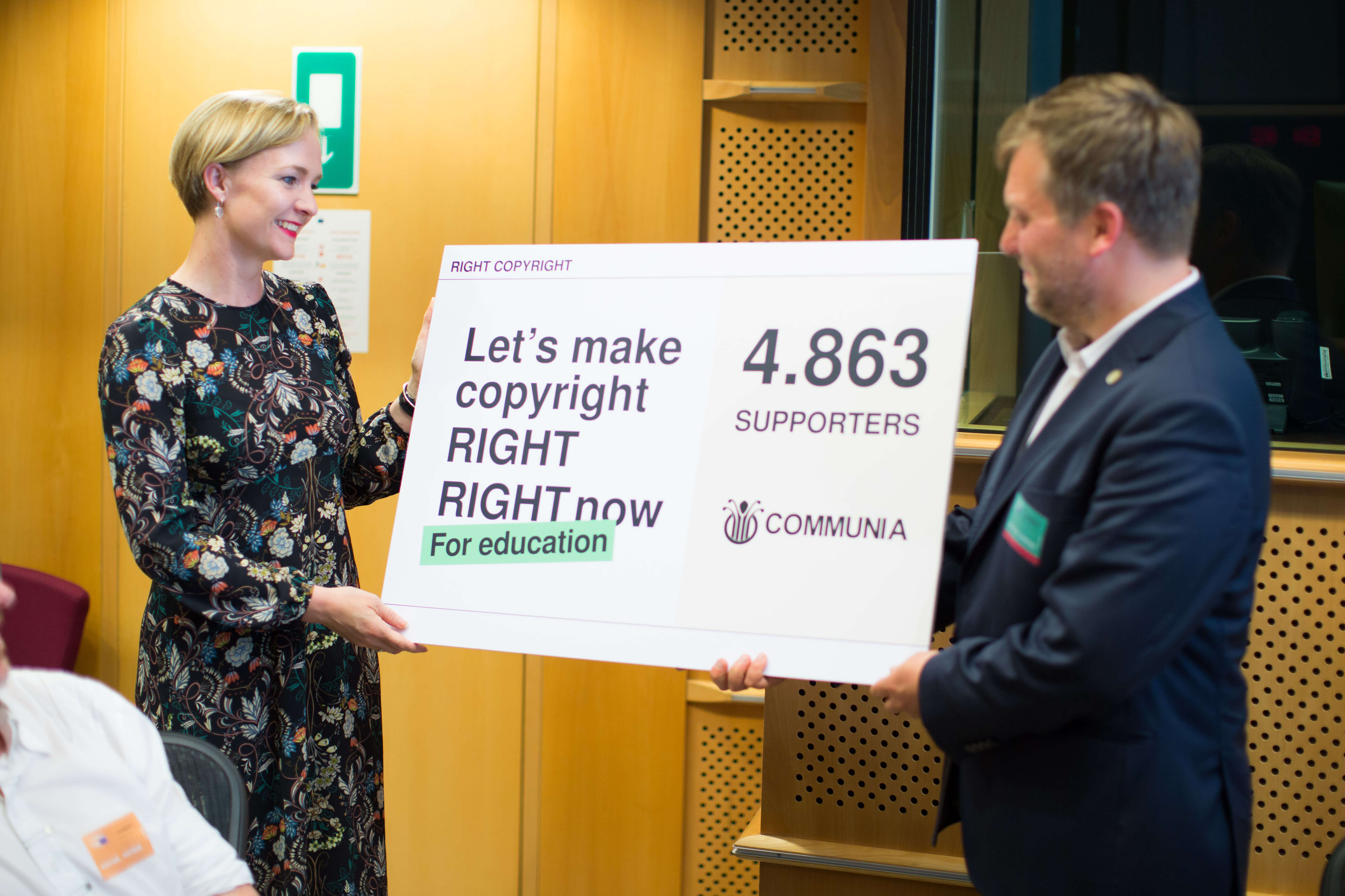 "The representatives of COMMUNIA presented the results of their campaign at the ""Right Copyright"" event organised by COMMUNIA at the European Parliament on 21 June 2017. Photo by: Sebastiaan ter Burg."