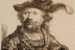 """Autoportret"". (gravirao) Rembrandt Harmenszoon van Rijn. Amsterdam, 1638. Bakropis; 134 x 102 mm. Dostupno na Digitalnim zbirkama NSK."