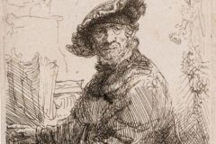 """Čovjek u sjenici"". (gravirao) Rembrandt Harmenszoon van Rijin. Amsterdam, 1640. Bakropis; 73 x 60 mm. Dostupno na Digitalnim zbirkama NSK."