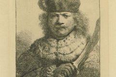 """Autoportret s uzdignutom sabljom"". Rembrandt Harmenszoon van Rijn. Berlin: Amsler & Ruthardt, 1920. Faksimil: bakropis, burin; otisak 121 x 38 mm, list 195 x 141 mm. Dostupno na Digitalnim zbirkama NSK."