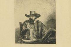 """Propovjednik Cornelis Claesz Anslo"". Rembrandt Harmenszoon van Rijn. Berlin: Amsler & Ruthardt, 1920. Faksimil: bakropis, suha igla; otisak 176 x 153 mm, list 382 x 284 mm. Dostupno na Digitalnim zbirkama NSK."
