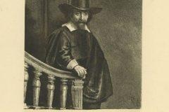 """Liječnik Ephraim Bonus"". Rembrandt Harmenszoon van Rijn. Berlin: Amsler & Ruthardt, 1920. Faksimil: bakropis, suha igla; otisak 202 x 173 mm, list 386 x 273 mm. Dostupno na Digitalnim zbirkama NSK."