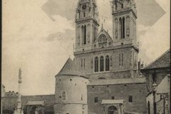 Old postcard of Zagreb. The Cathedral of Assumption of the Blessed Virgin Mary. Print Collection of the National and University Library in Zagreb.