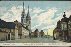 Old postcard of Zagreb. Kaptol, the seat of the Zagreb Archbishopric, and the Cathedral of Assumption of the Blessed Virgin Mary. Print Collection of the National and University Library in Zagreb.