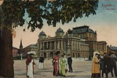 Old postcard of Zagreb. Croatian National Theatre square. Print Collection of the National and University Library in Zagreb.