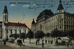Old postcard of Zagreb. Petar Preradović square. Print Collection of the National and University Library in Zagreb.