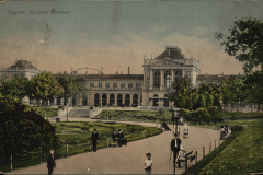 Old postcard of Zagreb. King Tomislav square. Print Collection of the National and University Library in Zagreb.