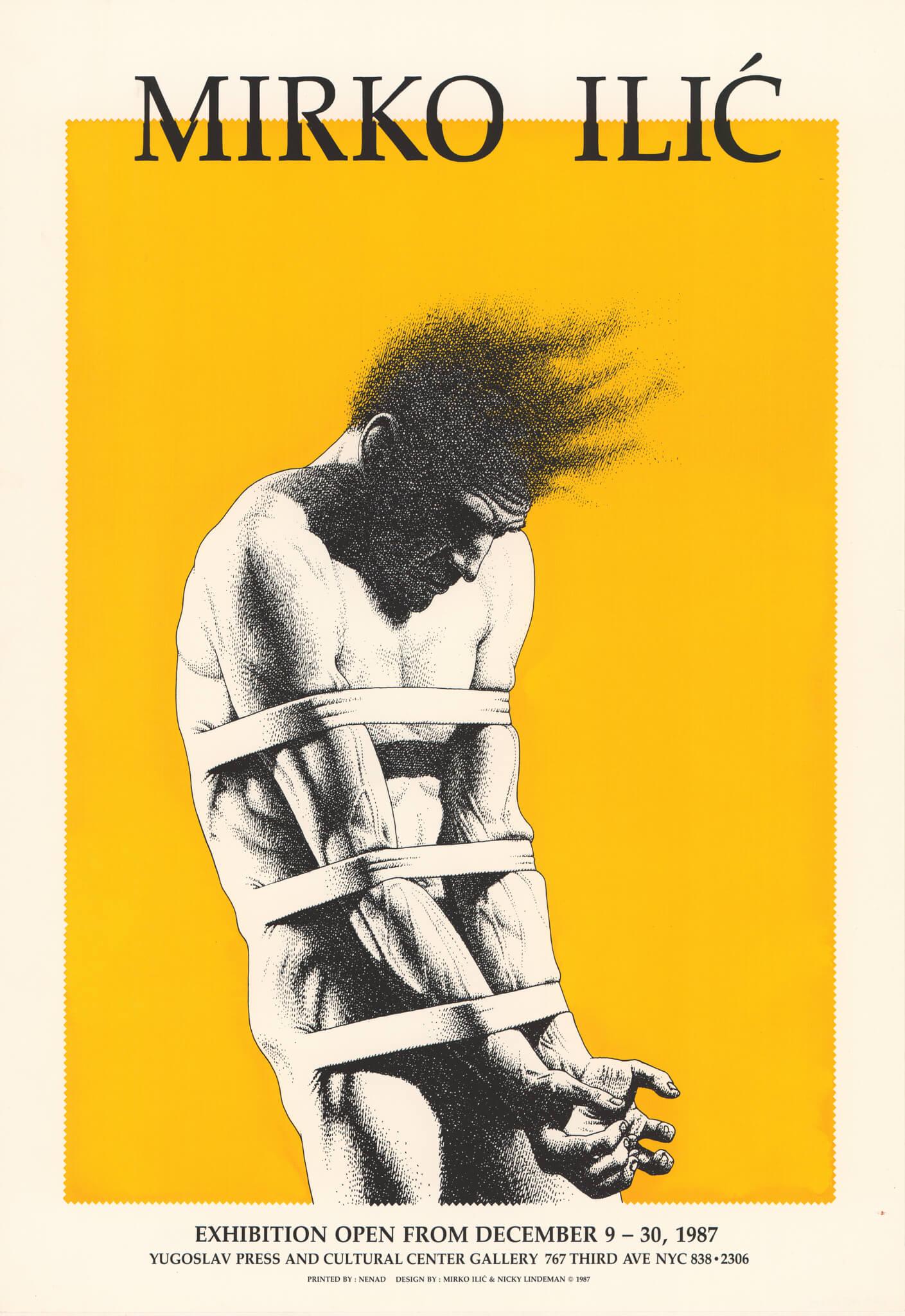 """Mirko Ilić"" (1987.; Mirko Ilić, Nicky Lindeman), plakat za izložbu radova Mirka Ilića 1987. godine u galeriji Centra za jugoslavenski tisak i kulturu u New Yorku."