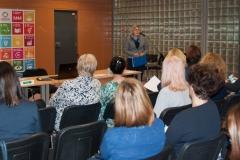 Glavna ravnateljica NSK dr. sc. Tatijana Petrić na radionici o ulozi knjižnica u provođenju UN-ove razvojne strategije Agenda 2030. održanoj u NSK 17. i 18. travnja 2018. godine.