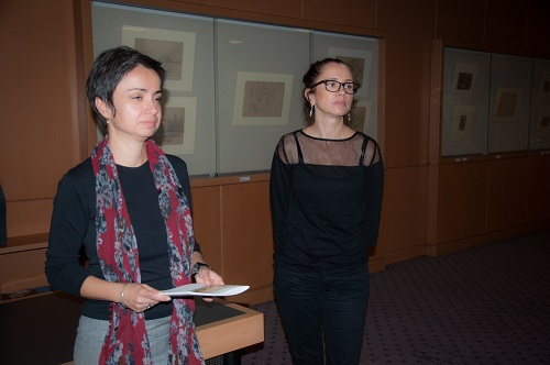 Head of the NSK Print Collection Tamara Ilić Olujić and author of the exhibition Vesna Vlašić Jurić at the opening of the NSK exhibition featuring drawings by Hugo Conrad von Hötzendorf in the Collection.