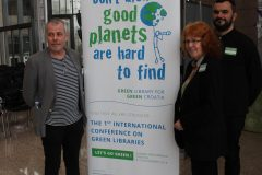 "Harri Sahavirta (IFLA ENSULIB), Petra Hauke (IFLA ENSULIB) and Philippe Colomb (Françoise Sagan Library, France) at the world's first international conference on green libraries ""Let's Go Green!"". National and University Library in Zagreb, 8 – 10 November 2018."