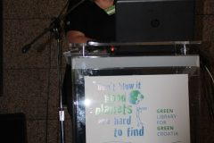 "Andrea Kaufmann (Institute for Library and Information Science, Humboldt University, Germany) at the 1st International Conference on Green Libraries ""Let's Go Green!"". National and University Library in Zagreb, 8 – 10 November 2018."