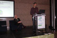 "Kristina Afrić Rakitovac and Ivan Kraljević (Juraj Dobrila University of Pula, Croatia) at the 1st International Conference on Green Libraries ""Let's Go Green!"". National and University Library in Zagreb, 8 – 10 November 2018."
