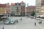 A view on the main square from the public library in the historical part of Wrocław.