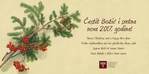 A digitised old Christmas card from the Print Collection of the National and University Library in Zagreb.