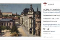 Objava stare razglednice iz fonda Grafičke zbirke NSK s motivom Zagreba na Instagramu.