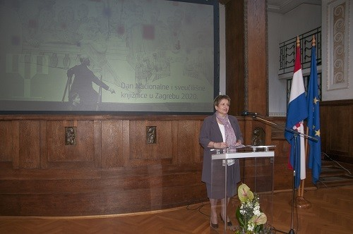 Director General of the National and University Library in Zagreb Dr Ivanka Stričević at the celebration of the National and University Library in Zagreb Day 2020. Croatian State Archives, 21 February 2020.