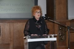 Dr Mikica Maštrović, the winner of the 2019 National and University Library in Zagreb Award for distinguished library professionals, at the celebration of the National and University Library in Zagreb Day 2020. Croatian State Archives, 21 February 2020.