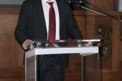 Rector of the University of Zagreb Professor Damir Boras, who on behalf of the University received the 2019 National and University Library in Zagreb Award for legal entities, at the celebration of the National and University Library in Zagreb Day 2020. Croatian State Archives, 21 February 2020.