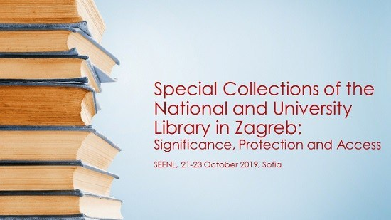 "Presentation of NSK Acting Director General Tatijana Petrić at the 8th South East Europe National Librarians (SEENL) Conference, which took place from 21 to 23 October at the ""St. Cyril and Methodius"" National Library of Bulgaria."