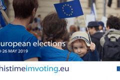 """""""This time I'm voting"""". A campaign of the European Parliament aimed at informing EU citizens on the 2019 European Parliament elections and motivating them to vote. Source: http://www.europarl.europa.eu/portal/en."""
