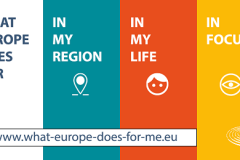"""What Europe Does for Me"". A campaign of the European Parliament aimed at informing EU citizens how EU policies affect their daily lives. Source: http://www.europarl.europa.eu/portal/en."