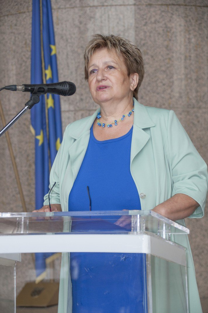 """Director General of the National and University Library Dr Ivanka Stričević at the opening of the exhibition commemorating Dušan Karpatský (1935-2017) (""""Dušan Karpatský (1935. – 2017.), znan i neznan"""", """"Dušan Karpatský známý a neznámý"""")."""