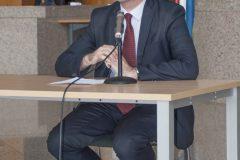 """President of the Croatian-Czech Society Marijan Lipovac at the opening of the exhibition commemorating Dušan Karpatský (1935-2017) (""""Dušan Karpatský (1935. – 2017.), znan i neznan"""", """"Dušan Karpatský známý a neznámý"""")."""