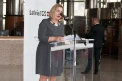 """Director General of the National and University Library in Zagreb Tatijana Petrić at the opening of """"Latvia's Century"""", an exhibition marking the centenary of the restoration of Latvia's sovereignty."""