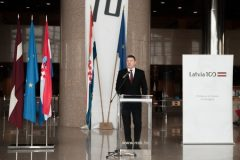"President of the Republic of Latvia Raimonds Vējonis at the opening of ""Latvia's Century"", an exhibition marking the centenary of the restoration of Latvia's sovereignty."