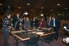 """President of the Republic of Latvia Raimonds Vējonis visits the Library's Manuscripts and Old Books Collection as part of the opening of """"Latvia's Century"""", an exhibition marking the centenary of the restoration of Latvia's sovereignty, hosted by NSK."""