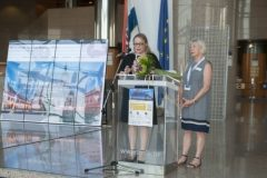 Dr Dijana Machala and Dr Gillian Hallam at the opening of IFLA CPDWL Satellite Meeting 2019. National and University Library in Zagreb, 20 August 2019.