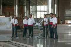 "Performance by ""Punti"", a klapa multipart singing group, at IFLA CPDWL Satellite Meeting 2019. National and University Library in Zagreb, 20 August 2019."