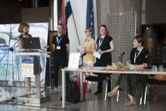 Susanna Lampola-Autio, Salla Hyökki and Jarkko Rikkilä (Tampere City Library, Finland) and session chairs Prof Ana Barbarić (University of Zagreb) and Iva Klak Mršić at IFLA CPDWL preconference announcing IFLA WLIC 2019. National and University Library in Zagreb, 21 August 2019.