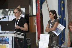 Irena Bekić and Petra Dolanjski Harni (Zagreb City Libraries, Croatia) at IFLA CPDWL preconference announcing IFLA WLIC 2019. National and University Library in Zagreb, 21 August 2019.