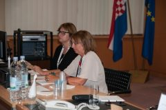 Marcella Rognoni and Anna Maria Pastorini (University of Genova, Italy) at IFLA CPDWL preconference announcing IFLA WLIC 2019. National and University Library in Zagreb, 21 August 2019.