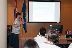 Dr Zvjezdana Dukić  (Croatia) at IFLA CPDWL preconference announcing IFLA WLIC 2019. National and University Library in Zagreb, 21 August 2019.