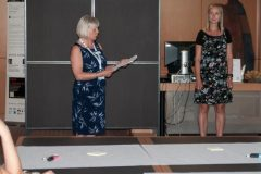 Session chair Dr Gillian Hallam and Anne Kakkonen (Helsinki University Library, Finland) at IFLA CPDWL preconference announcing IFLA WLIC 2019. National and University Library in Zagreb, 21 August 2019.