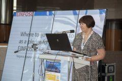 Keynote speaker Prof Tatjana Aparac-Jelušić (Osijek, Zagreb and Zadar universities, Croatia) at IFLA CPDWL preconference announcing IFLA WLIC 2019. National and University Library in Zagreb, 21 August 2019.