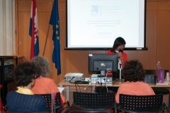 Lourdes Feria Basurto (University of Colima, Mexico) at IFLA CPDWL preconference announcing IFLA WLIC 2019. National and University Library in Zagreb, 21 August 2019.