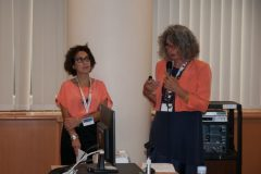 Paola Monno and Matilde Fontanin (La Sapienza University, Italy) at IFLA CPDWL preconference announcing IFLA WLIC 2019. National and University Library in Zagreb, 21 August 2019.