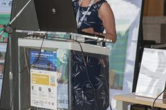 Chair of the IFLA Continuing Professional Development and Workplace Learning Section Gillian Hallam (IFLA CPDWL) at the opening of IFLA CPDWL preconference announcing IFLA WLIC 2019. National and University Library in Zagreb, 21 August 2019.