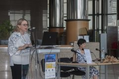President of the Croatian Library Association Dijana Machala at the opening of IFLA CPDWL preconference announcing IFLA WLIC 2019. National and University Library in Zagreb, 21 August 2019.