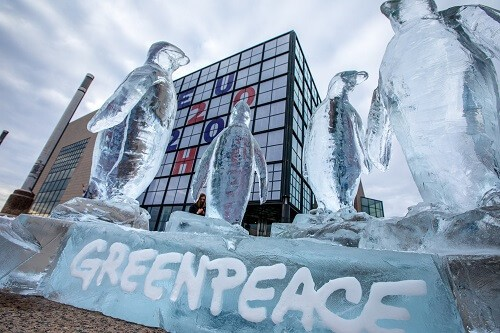 Greenpeace activists put up an ice sculpture of penguins in front of the building of the National and University Library in Zagreb, the seat of Croatia's presidency of the Council of the European Union, as part of a global campaign for the adoption of the UN Global Ocean Treaty. Photo by: Nevio Smajić.